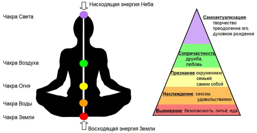 Чакры энергообмена (слева)  и потребности роста личности в соответствии с иерархией А. Маслоу